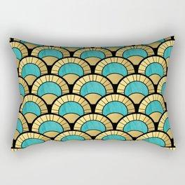 Duck Egg Green Art Deco Fan Pattern Rectangular Pillow