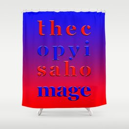 The Copy is a Homage – Red Blue Shower Curtain