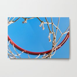 Red Basketball Rim, White Old Rope, Blue Sky Metal Print