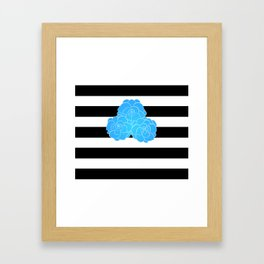 Stripes and Blue Roses Framed Art Print