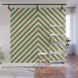Orange White and Green Irish Chevron Stripe Wall Mural