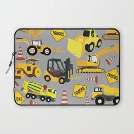 Construction Trucks Pattern - Excavator, Dump Truck, Backhoe and more. Laptop Sleeve
