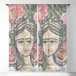 "Portrait ""Mexican Girl"" Face art Sheer Curtain"