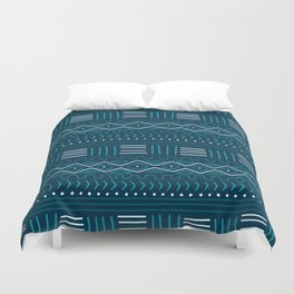 Mudcloth on Teal Duvet Cover