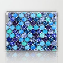 Colorful Teal & Blue Watercolor & Glitter Mermaid Scales Laptop & iPad Skin