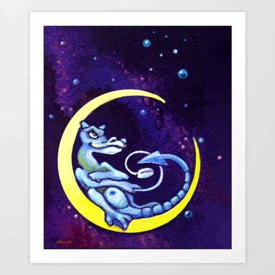 Midnight Surfer Art Print
