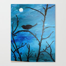 Blackbird singing in the dead of night/ Pajaro negro sal de ahi Canvas Print