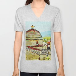 Convent building with dome Unisex V-Neck