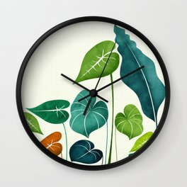 Rainforest Hike / tropical leaf collection Wall Clock