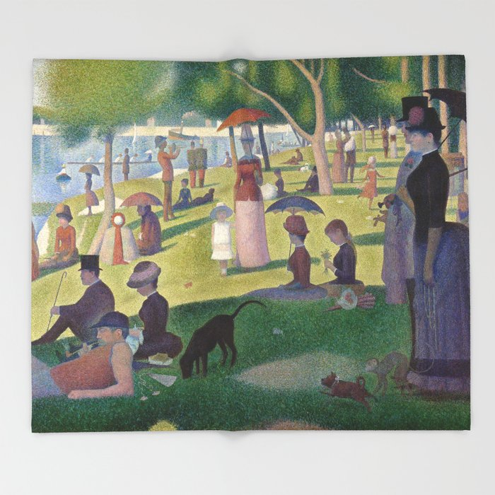 Georges Seurat - A Sunday Afternoon on the Island of La Grande Jatte Throw Blanket