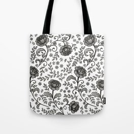 Floral Lace (black on white) Tote Bag