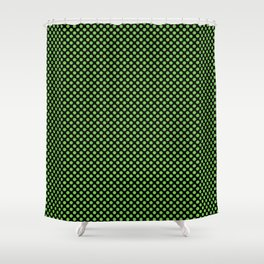 Black and Green Flash Polka Dots Shower Curtain