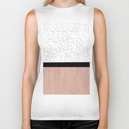 Pink marble and dots Biker Tank