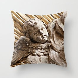 Baroque Marble Baby Angel  Sculpture Rome Italy Throw Pillow