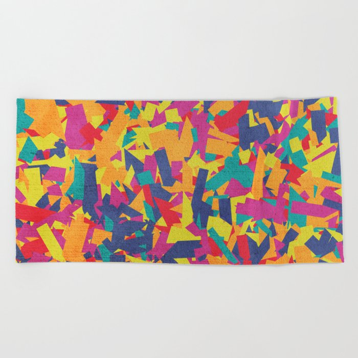Seamless Colorful Geometric Pattern VI Beach Towel