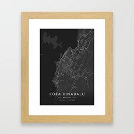 Kota Kinabalu, Malaysia - Dark Map Framed Art Print