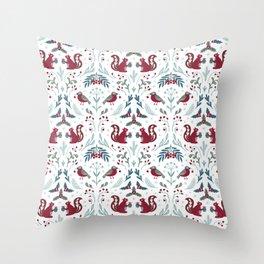 Winter flora and fauna / light pattern Throw Pillow
