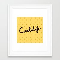 cunt Framed Art Prints featuring cunt life yellow by Andy Aidekman