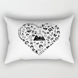 I Love Skiing | Snow Heart Winter Sports Skiing Rectangular Pillow
