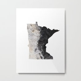 Minnesota Map Outline-North Shore Texture Metal Print