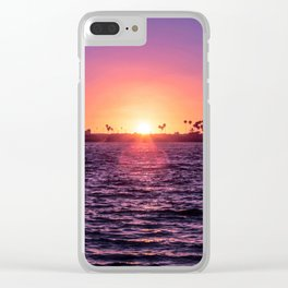 Mission Bay Palm Tree Sunset in San Diego, California Clear iPhone Case