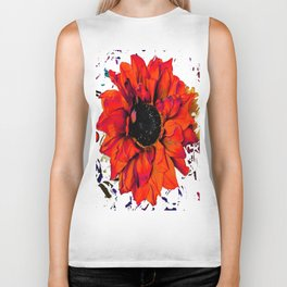 Orange Sunflower & Teal Contemporary Abstract Biker Tank