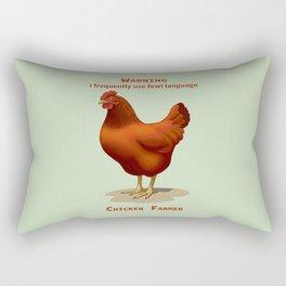 Funny Rhode Island Red Hen Fowl Language Chicken Farmer Rectangular Pillow