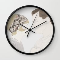 the great gatsby Wall Clocks featuring The Great Gatsby by Becky Astbury