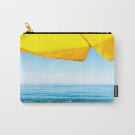 Yellow Beach Brolly with Blue Sea and Sky Carry-All Pouch