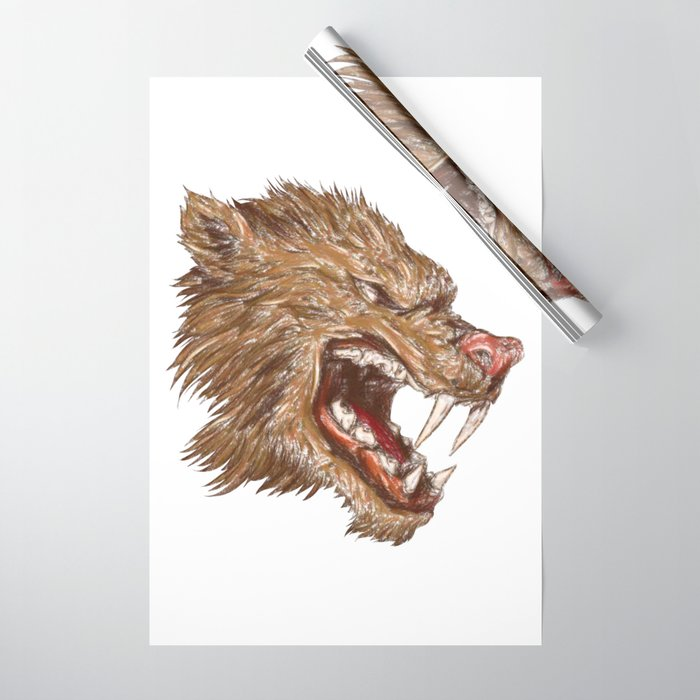 Head with sharp teeth Wrapping Paper