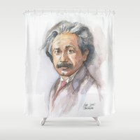 physics Shower Curtains featuring Albert Einstein Watercolor Portrait by Olechka