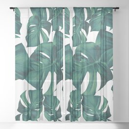 Monstera Leaves Pattern #3 #tropical #decor #art #society6 Sheer Curtain