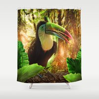 toucan Shower Curtains featuring Toucan by MG-Studio