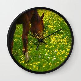 Enjoying The Wildflowers Wall Clock