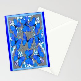 Decorative Blue Shades Butterfly Grey Pattern Art Stationery Cards