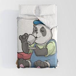 Panda as Mechanic with Tool case Comforters
