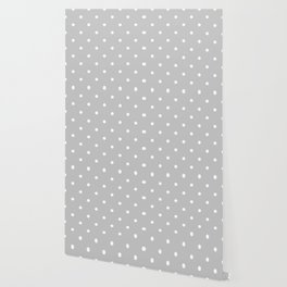 Small White Polka Dots On Light Grey Background Wallpaper