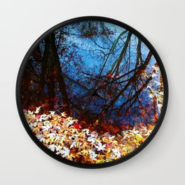 Maple leaves float on water, Autumn, fall, reflection, nature Wall Clock