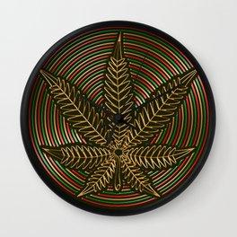 Golden Weed Wall Clock
