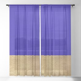 Color Blocked Gold & Cerulean Sheer Curtain
