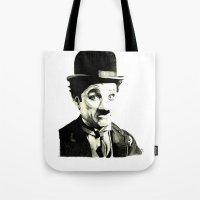 charlie chaplin Tote Bags featuring Charlie Chaplin by Lauren Randalls ART