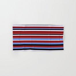 Vibrant Brown, Cornflower Blue, Black, Lavender & Maroon Colored Lined/Striped Pattern Hand & Bath Towel