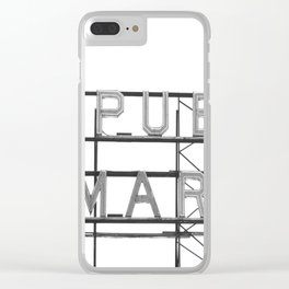 Pike Place Public Farmers Market - Black and White Clear iPhone Case