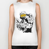 master chief Biker Tanks featuring Halo Master Chief by Ashley Rhodes