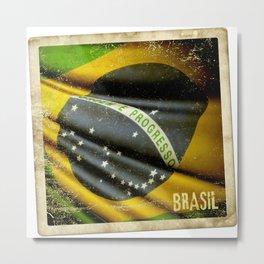 Sticker of Brazil flag Metal Print