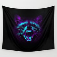 raccoon Wall Tapestries featuring Raccoon by Asya Solo