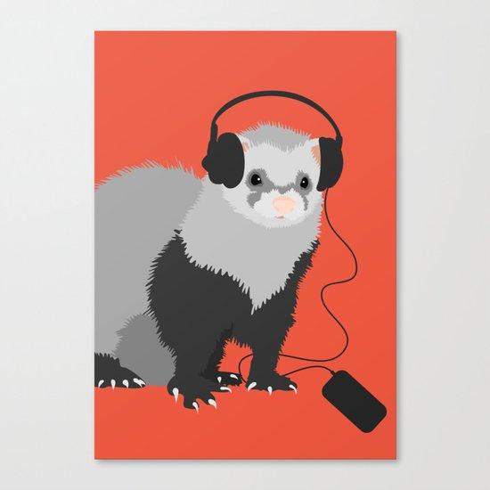 Music Loving Ferret Canvas Print