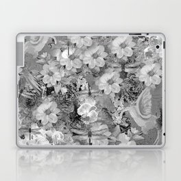 PARROTS MAGNOLIAS ROSES AND HYDRANGEAS TOILE PATTERN IN GRAY AND WHITE Laptop & iPad Skin