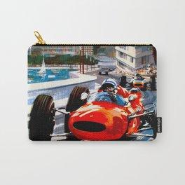 MONACO : Vintage Grand Prix Auto Racing Print Carry-All Pouch