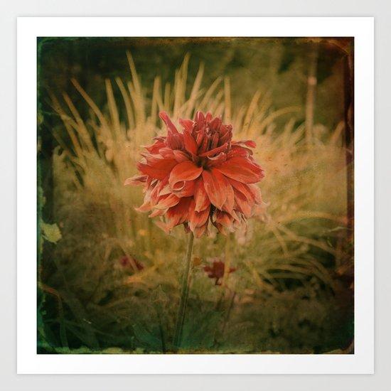 Hand painted vintage flower Art Print